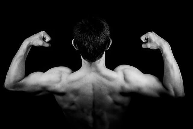 Muskularny mężczyzna, widok z tyłu